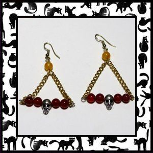 Swinging Skull Earrings with Red Agate Stone